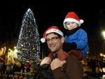 James Myers with his son Sam at the lighting up ceremony of Aberdeen's Christmas tree at Castlegate.  (Picture: Kevin Emslie)