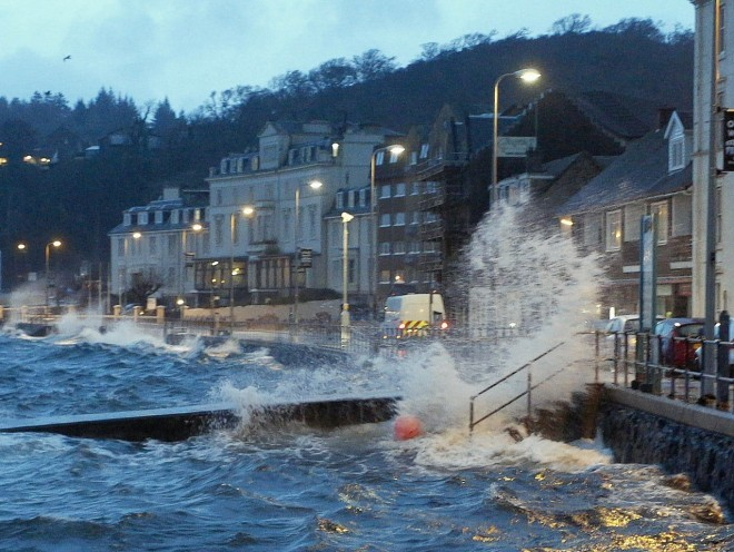 Storm Gertrude coupled with a high tide brought some flooding to the normally sheltered Oban bay. Picture by Steven Lawson