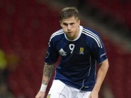 David Goodwillie in action for Scotland against Lithuania in 2011