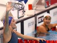 Great Britain's Francesca Halsall, left, won the 50m backstroke final