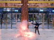 A person playing the role of suicide bomber detonates an explosive during an exercise at the Intu Trafford Centre in Manchester
