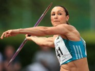 Jessica Ennis-Hill competes in the women's javelin during the Loughborough International Athletics event at the Paula Radcliffe Athletics Stadium
