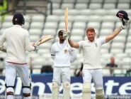 England's Jonny Bairstow celebrates his century during day two of the Investec Test at Headingley, Leeds