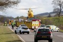 Air ambulance at the scene of the crash on A9