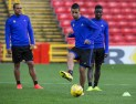 Maribor trained at Pittodrie ahead of their Europa League showdown with Aberdeen.
