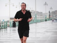 David Cameron taking a run along the seafront in Brighton during a Tory conference