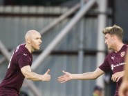 Conor Sammon nodded home the second for Hearts.
