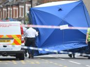 Police at the scene in Lennard Road, Penge