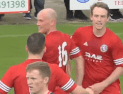 Brora celebrate the only goal against Turriff