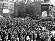 Historian E P Thompson grew disillusioned with the Communist Party of Great Britain, seen here launching its election campaign in London's Trafalgar Square, newly released files show