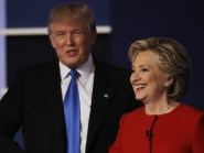 Republican presidential nominee Donald Trump shakes hands with Democratic presidential nominee Hillary Clinton following the presidential debate at Hofstra University (AP)