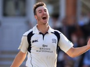 Toby Roland-Jones' stunning hat-trick clinched the County Championship title for Middlesex.