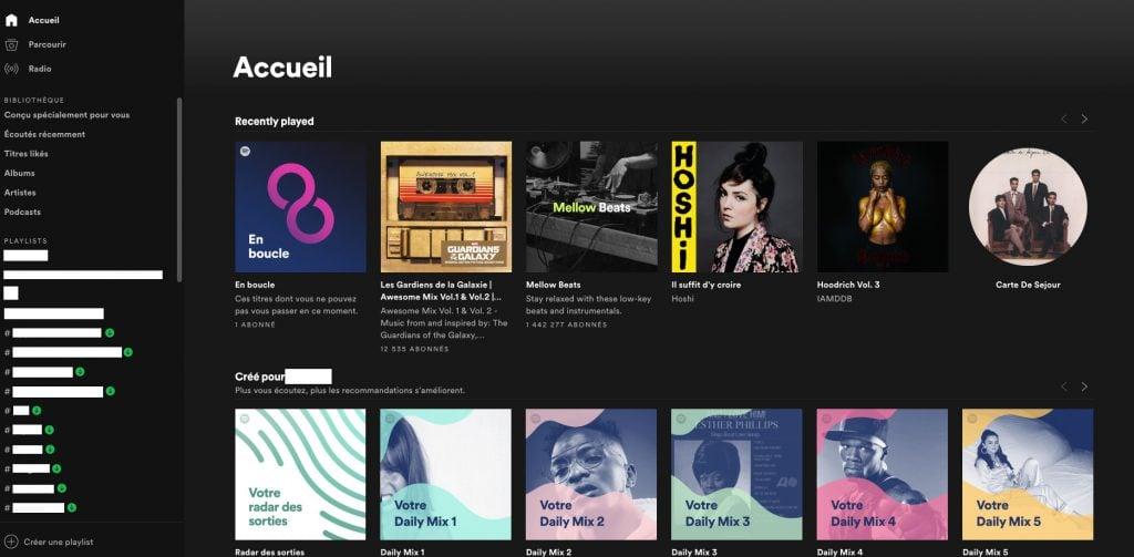 Design desktop Spotify