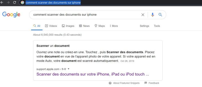 Capture d'écran sur le moteur de recherche de Google