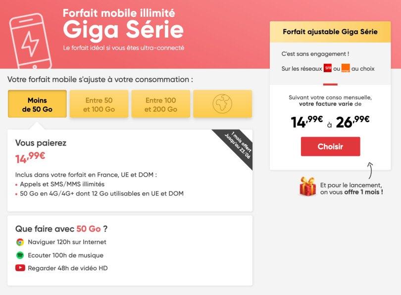 Forfait mobile Giga Série Prixtel
