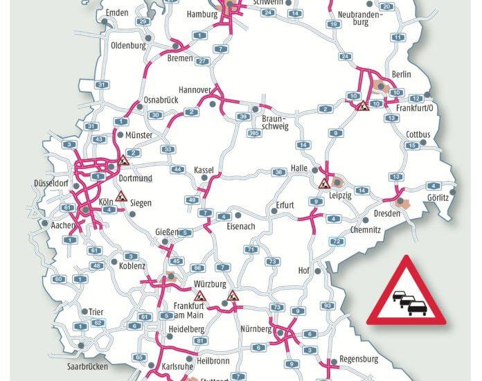 """""""Staustufe Rot"""" auf den Autobahnen ADAC-Stauprognose für das Osterwochenende 13. bis 17. April Ferien und fast 400 Baustellen bremsen den Verkehr"""