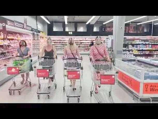 Protest ,Maskenpflicht,Magdeburg,Supermarkt,Frauen,News