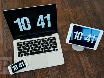 Bildschirmschoner für Mac mit Klappzahlen Uhr analog