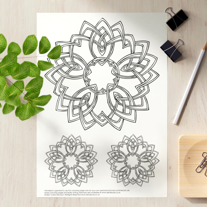 Get Creative: Free Celtic Floral Mandala colouring page