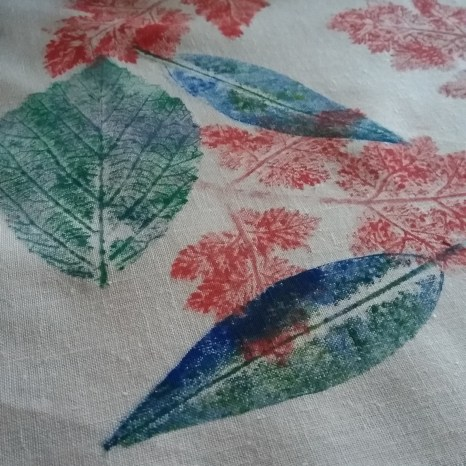printmaking with leaves from the garden