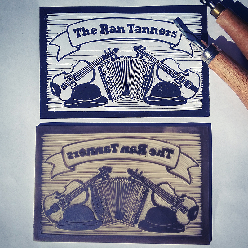 Lino printed logo design for The Ran Tanners