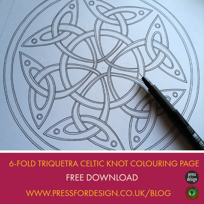 Get Creative: 6-fold Triquetra Celtic colouring page