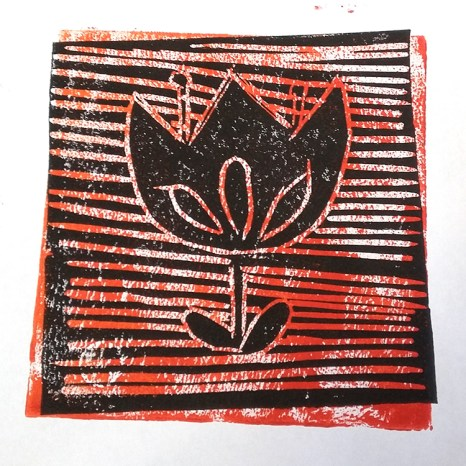 Lino print made by a member of Chester le Street Friendly Art Group