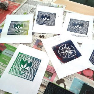 Lino prints by community art workshop member