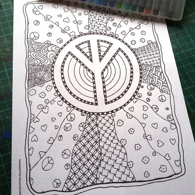 Peace colouring page