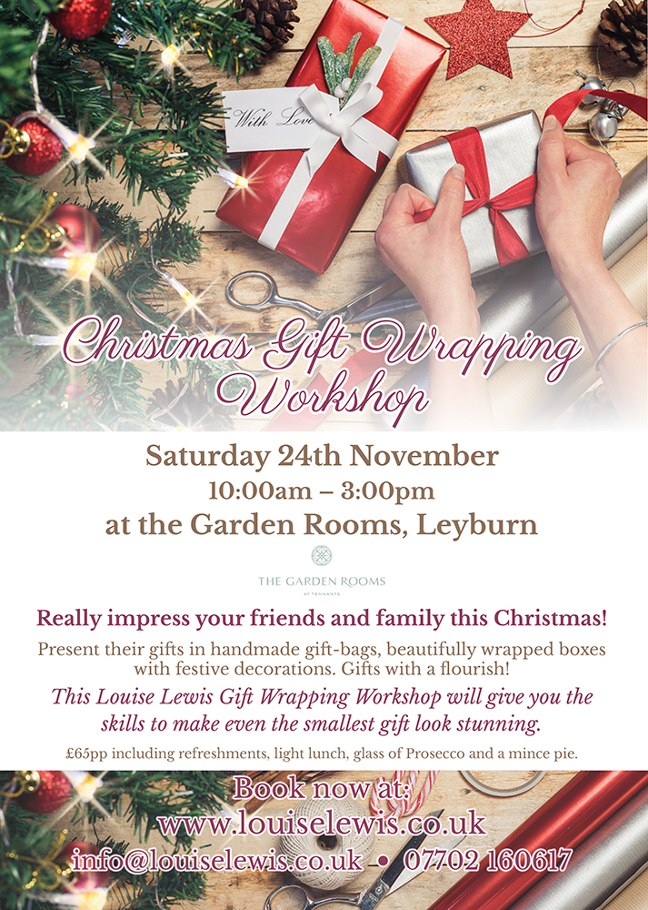 Louise Lewis Gift Wrapping Workshop poster layout