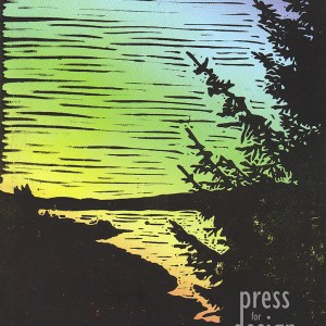 View Across Kielder Water lino print