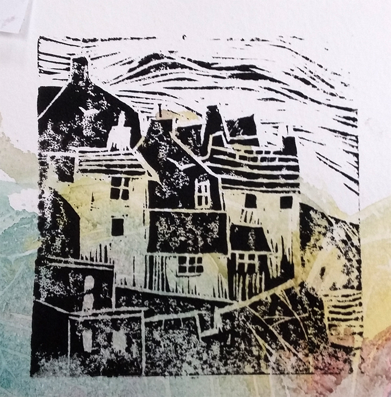 Lino print made by member of Chester le Street Art Group