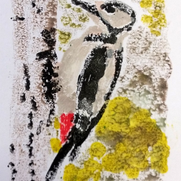 Mono printed woodpecker made by a community art group member