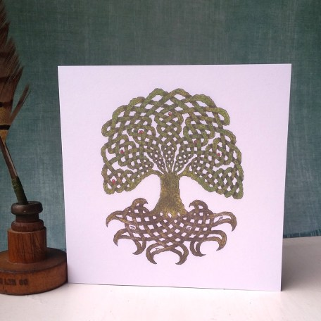 Celtic Tree of Life Robins and Moles greetings card