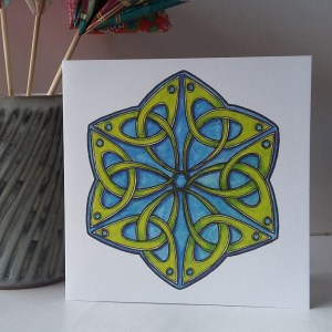 Celtic Trefoil Hexagon greetings card