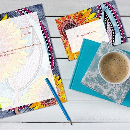 Dendryad Art - Santanas Sunflowers stationery set