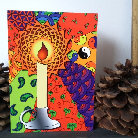 Celtic Candle Christmas Yule greetings card