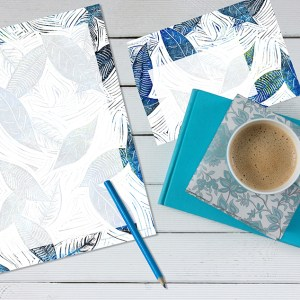 Dendryad Art - Blue Leaves of Winter stationery set