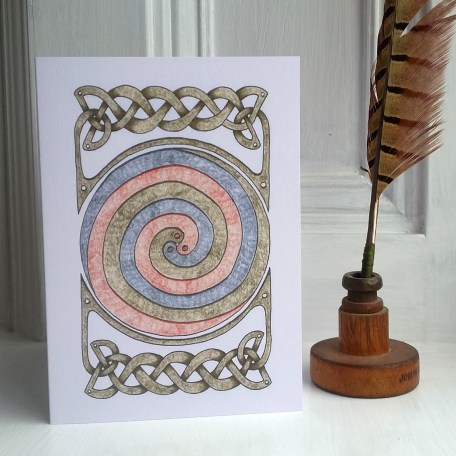 Celtic Spirals and Border greetings card