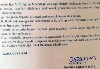Milli Eğitim Müdürlüğünün 'fişleme' kararı meclis gündeminde