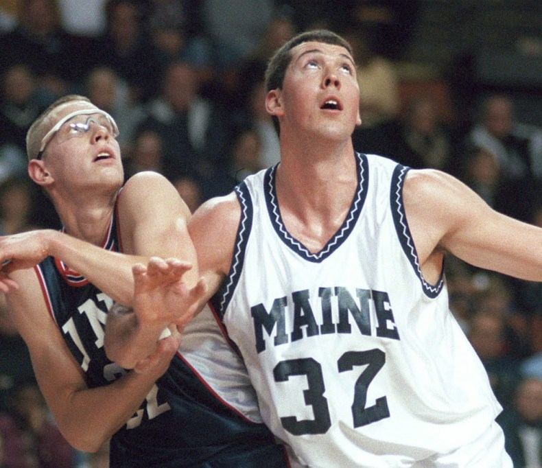Nate Fox, right, averaged almost 18 points and eight rebounds per game in his two seasons at Maine, leading the Black Bears to a 43-16 record.