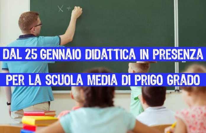 Campania, scuola: da lunedì 25 gennaio riparte la didattica in presenza nella scuola media superiore di primo grado