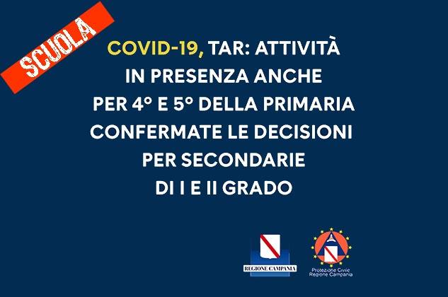 Covid, Campania: da domani riprendono lezioni in presenza per le classi 4° e 5° della scuola primaria