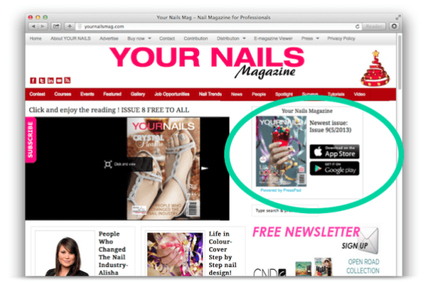 Your Nails Magazine successfully uses the Widget to promote their mobile editions.