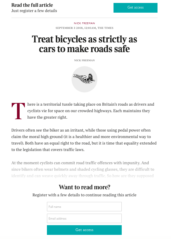 "The example of hard paywall used by ""The Times"" & ""The Sunday Times"""
