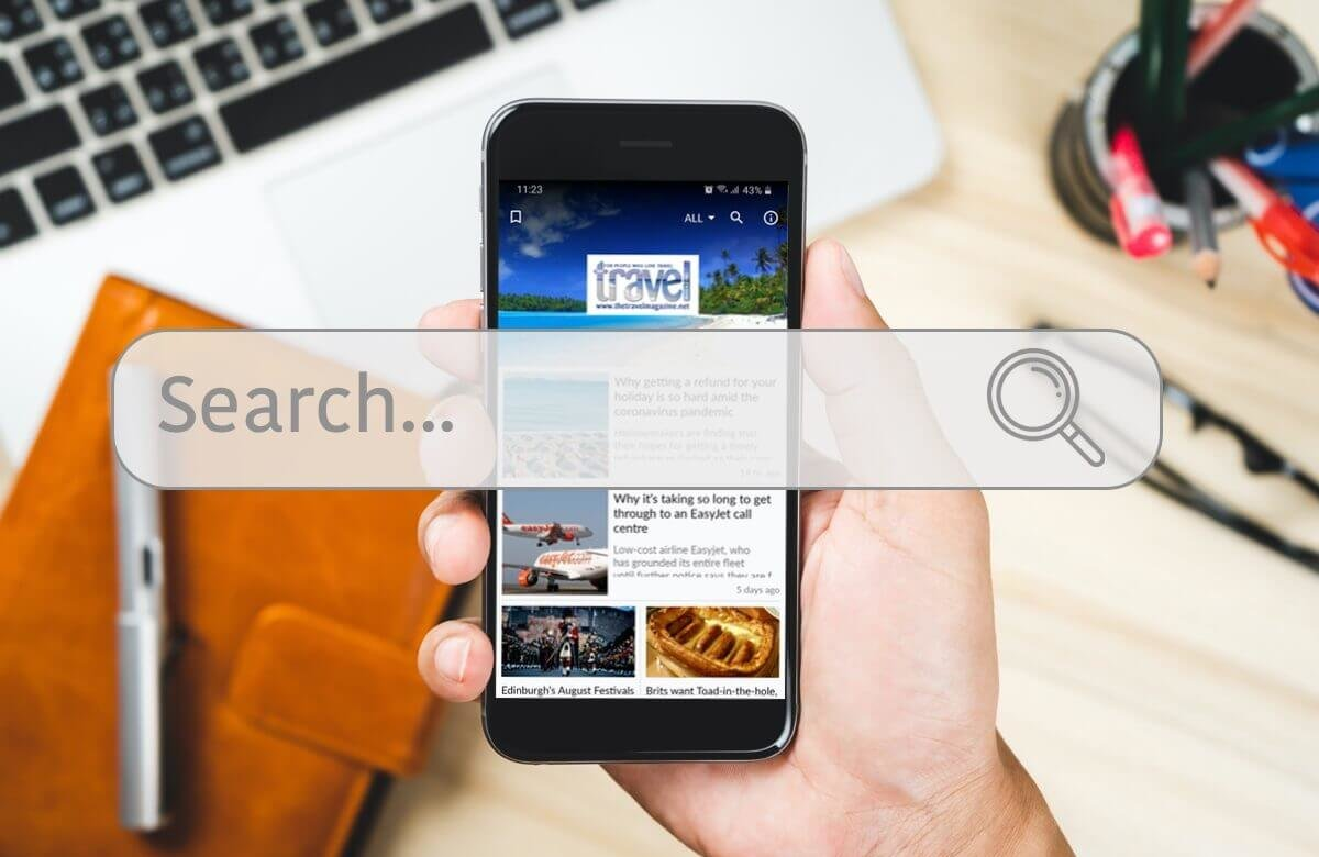 search bar in the news apps created by PressPad