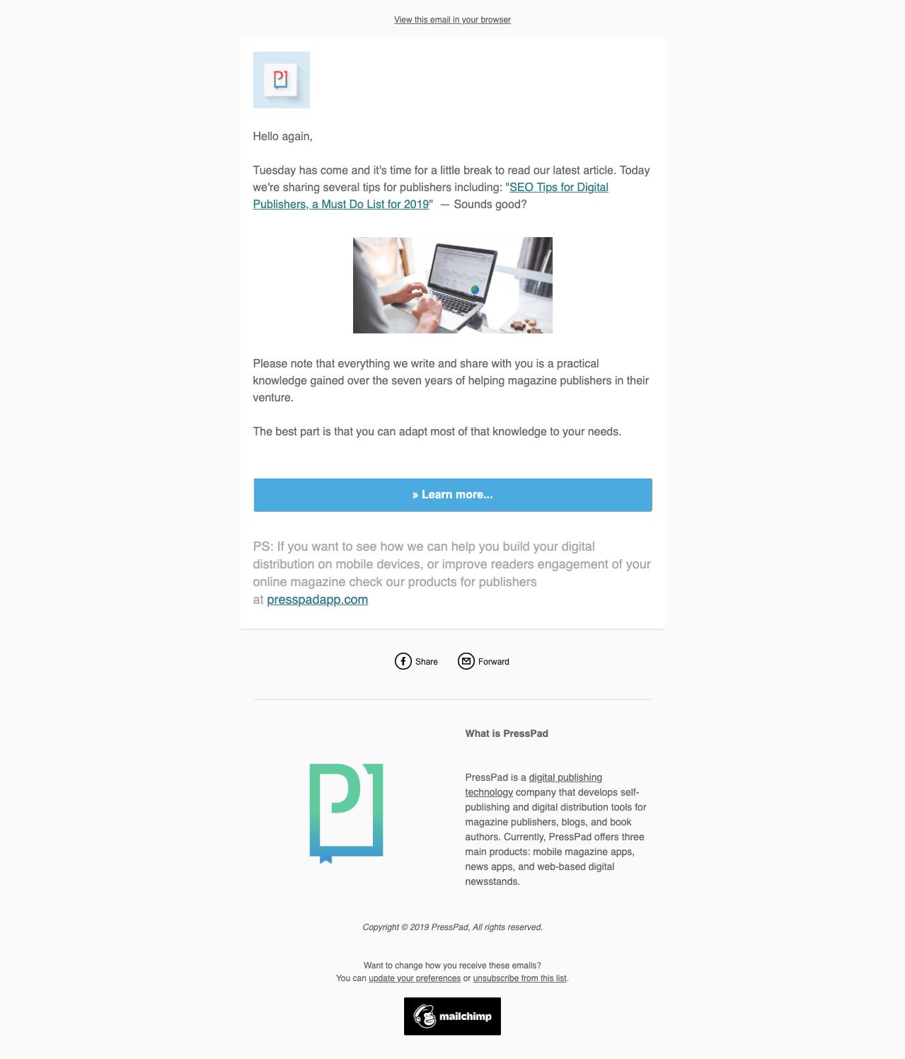 content distribution via newsletter - presspad example
