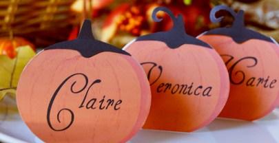 Festive Pumpkin Thanksgiving place cards