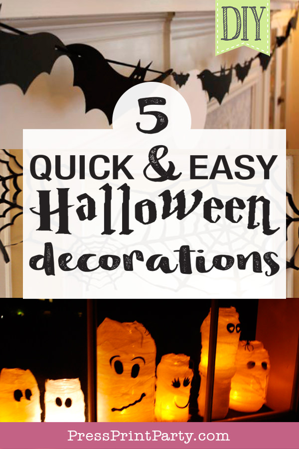 5 quick and easy Halloween Decorations - Press Print Party!