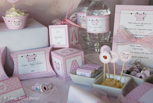 Baby Shower Pink Printables with Lady Bugs by Press Print Party